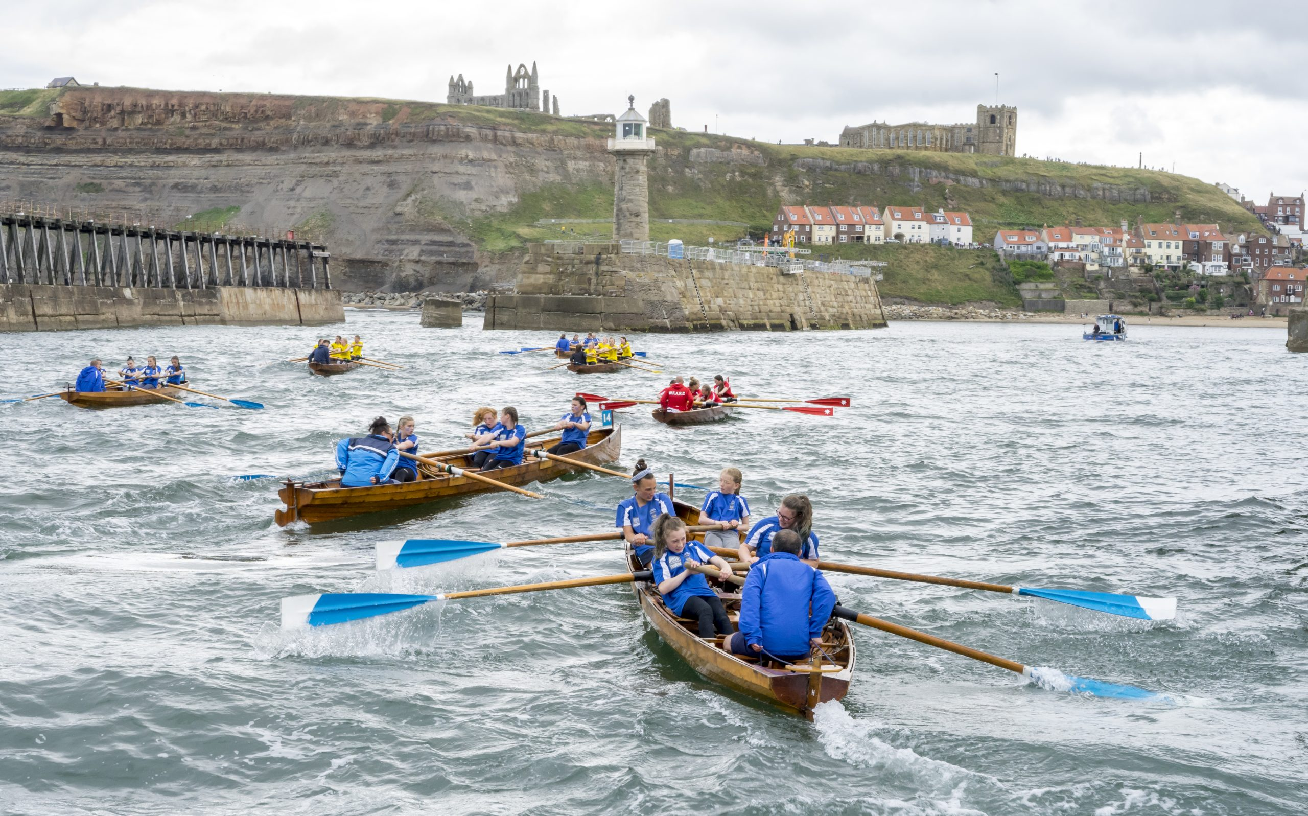 rowing boats in Whitby harbour