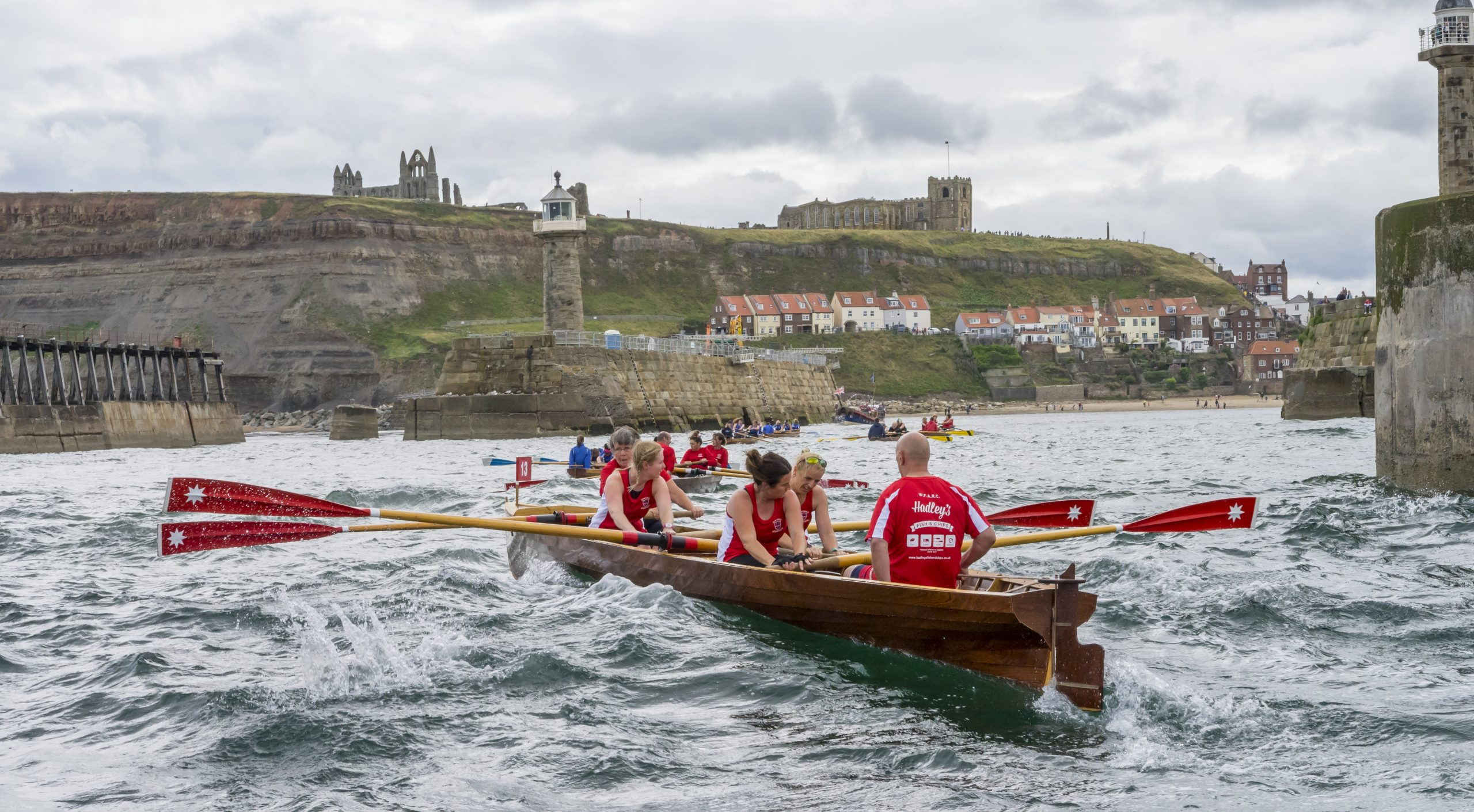 Whitby regatta rowing boats in Whitby Harbour