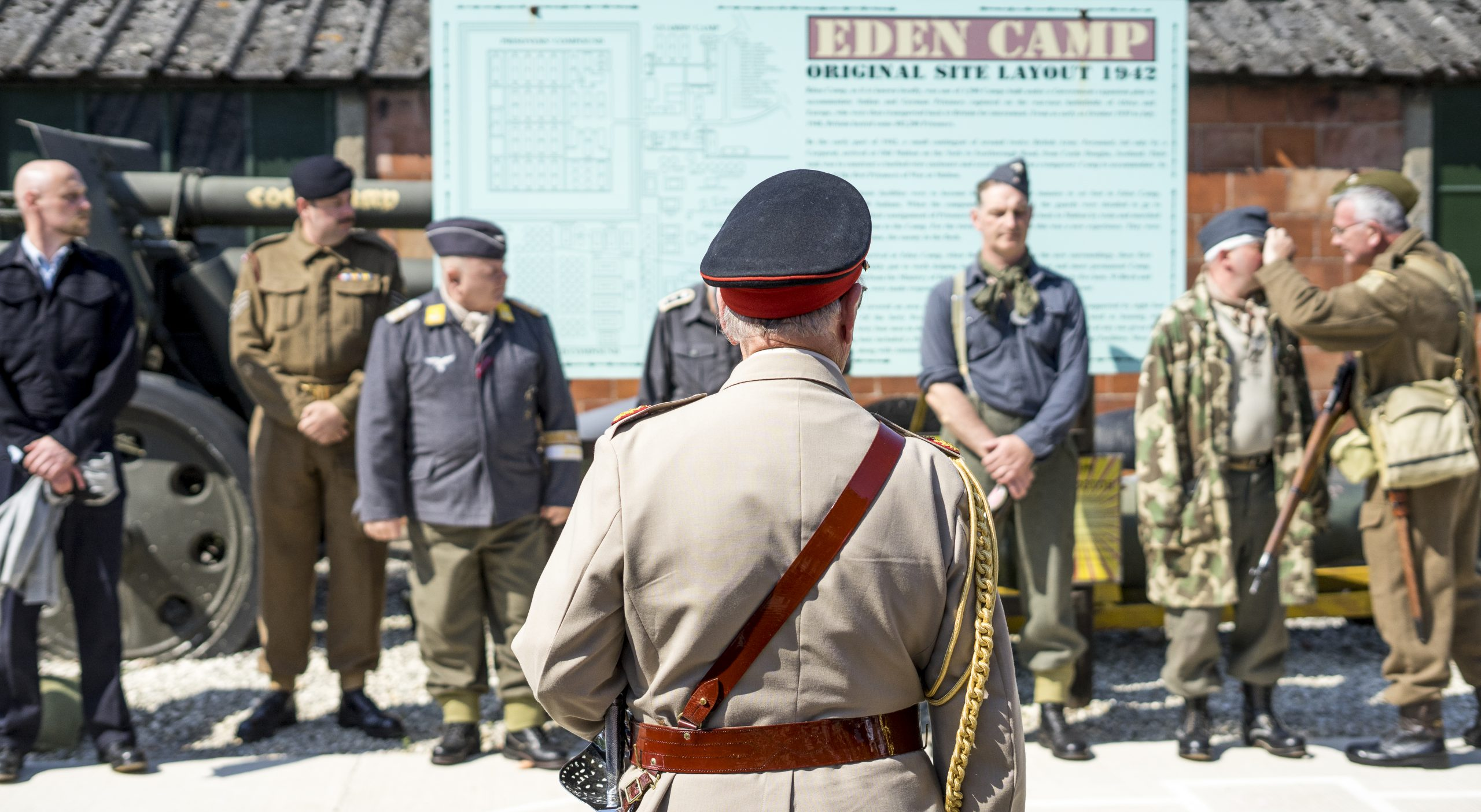 war re-enactment soldiers at Eden camp