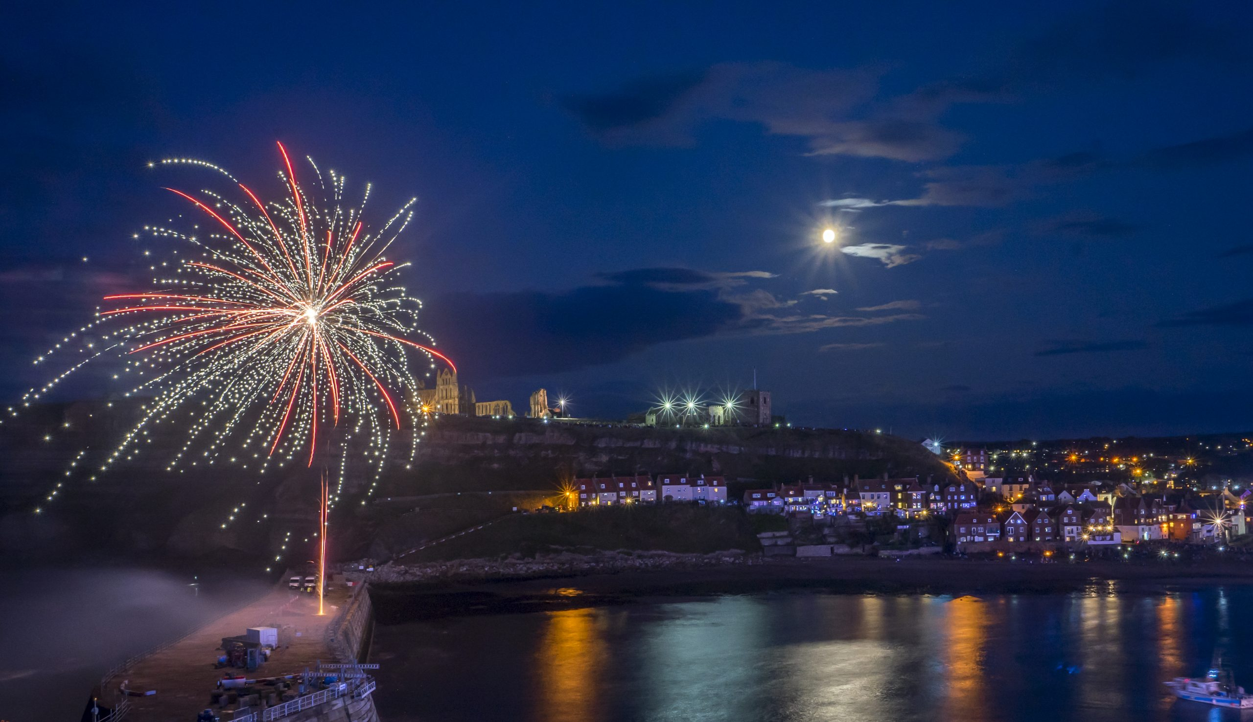 fireworks during the night in Whitby, North Yorkshire